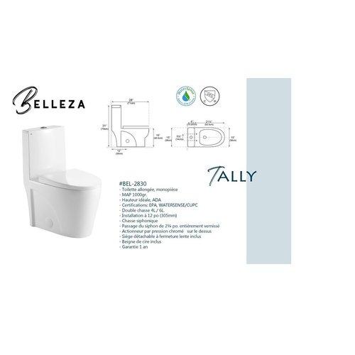 Toilette TALLY monopièce allongé,  double chasses