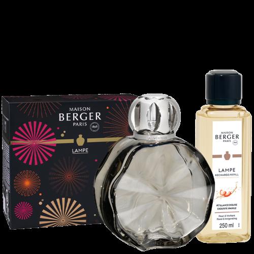 Coffret lampe Berger Cercle couleur onyx avec recharge pour lampe Pétillance exquise - 250 ml (8,5 oz)