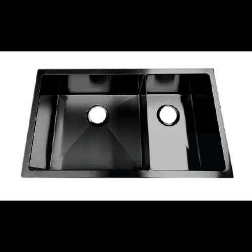 ligano Évier sous plan 31 x 18 x 9 1 cuve 1/2 Stainless noir par LIGANO