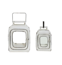 Distressed White Metal Lanterns (Set of 2 Sizes)