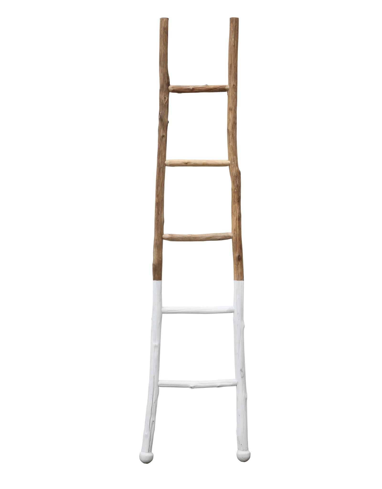 """White Dipped Fir Ladder, 72.5""""H x 2""""W x 18""""L"""