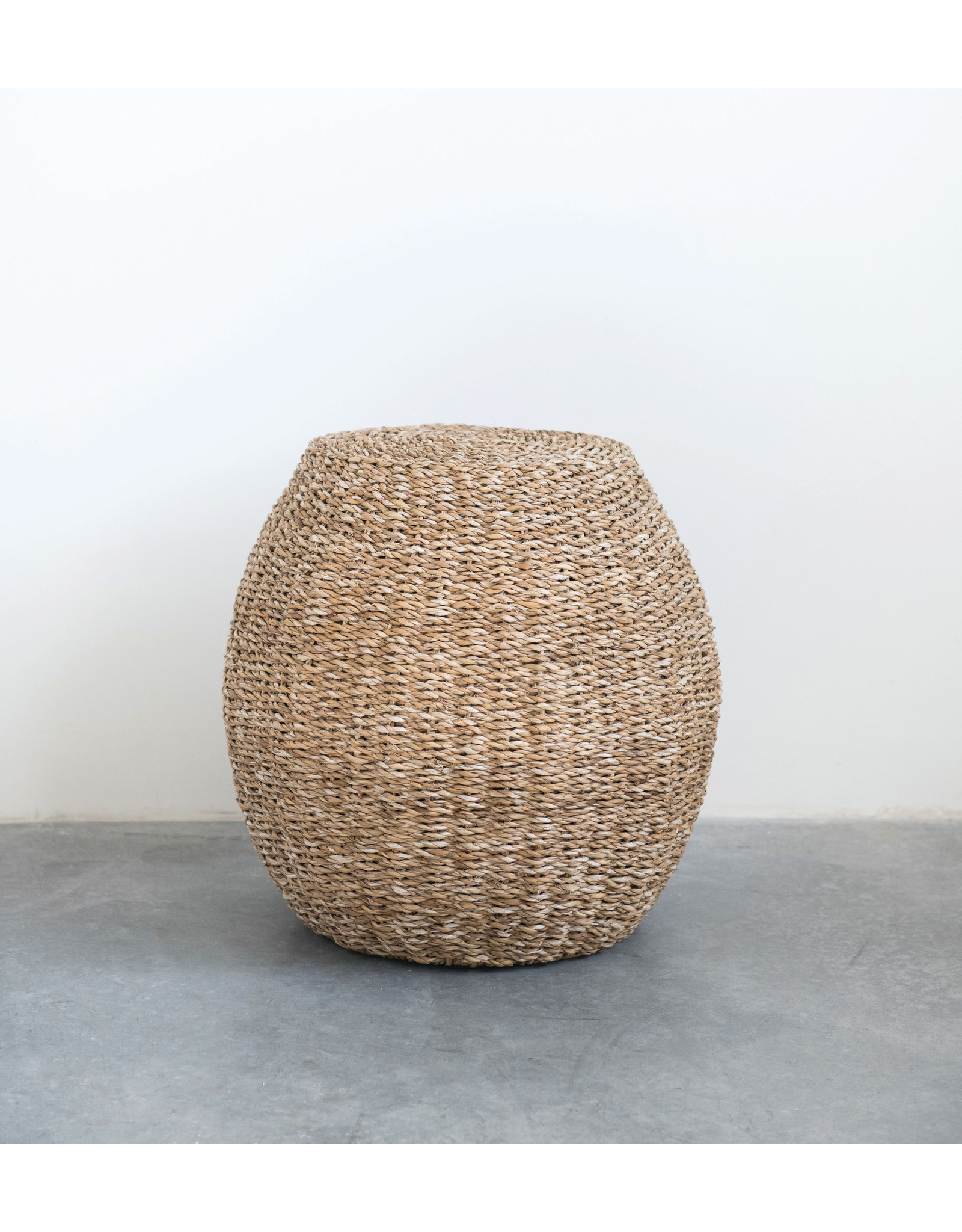 "Handwoven Seagrass Stool, 12""L x 12""W x 17""H"