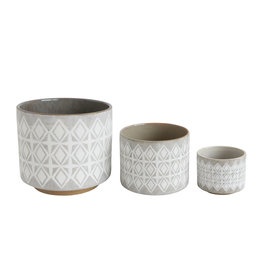 Gray & White Stoneware Pots (Set of 3 Sizes)
