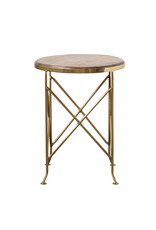 "Mango Wood and Gold Metal Side Table, 16""L x 16""W x 20.75""H"