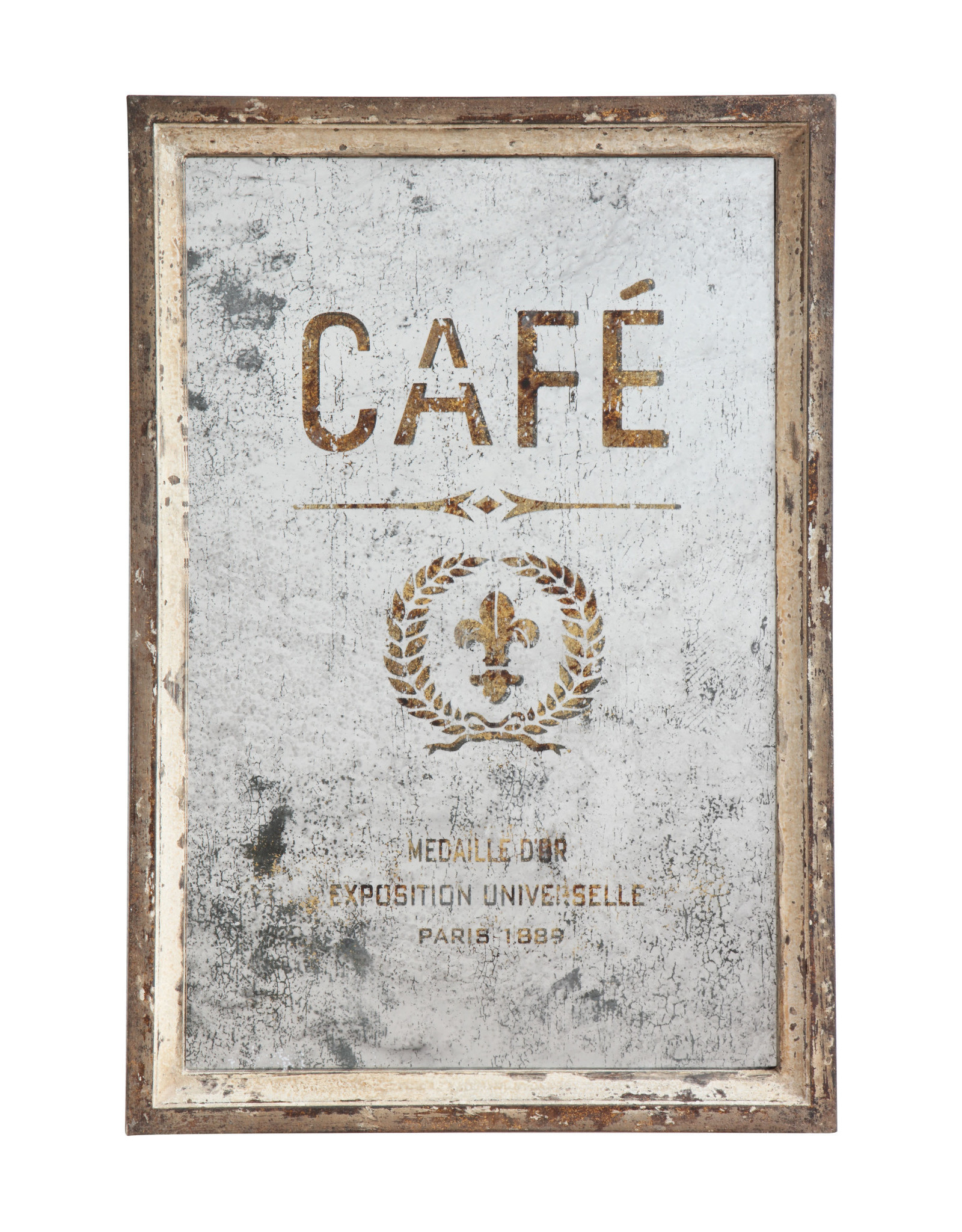 "Antiqued ""Café"" Mirror, 17.75L x 1W x 25.75H"