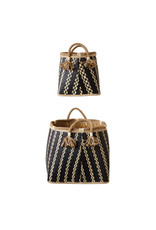 Wicker Baskets with Tassels (set of 2), 16L x 16W x 14.5H in.