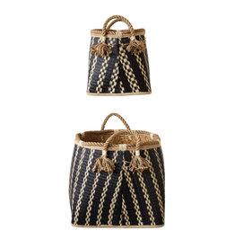 Wicker Baskets with Tassels (set of 2)