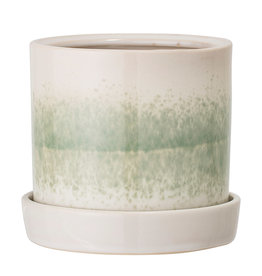 White & Green Stoneware Flower Pot