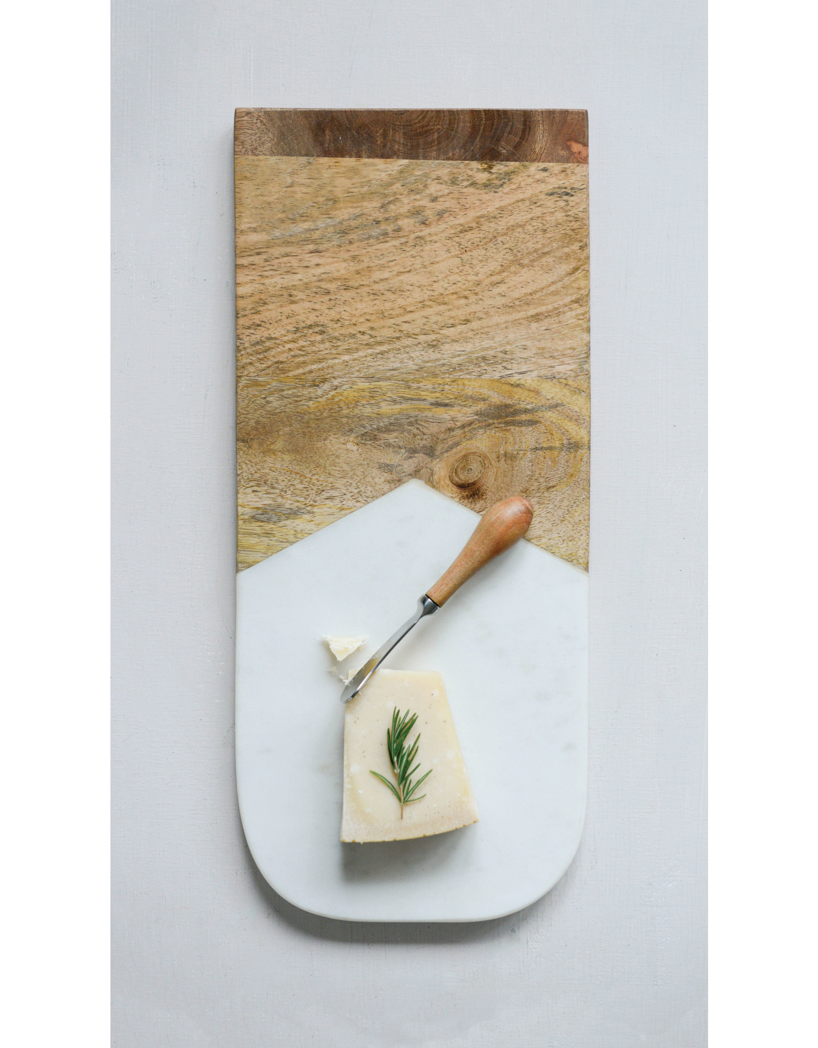 Marble & Mango Wood Cutting Board with Canape Knife (Set of 2 Pieces)