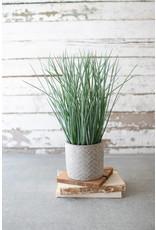 Faux Grass in Herringbone Pot