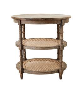 Round Mango Wood Table with 2 Cane Shelves
