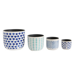 Hand Painted Stoneware Planters (Set of 4 Sizes)