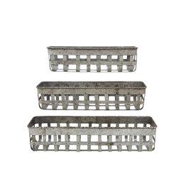 Open Weave Iron Baskets (Set of 3)