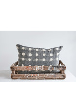 Charcoal Cotton Slub Pillow with Cream Polka Dots