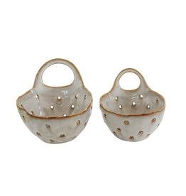 Set of 2 Cream Stoneware Colanders