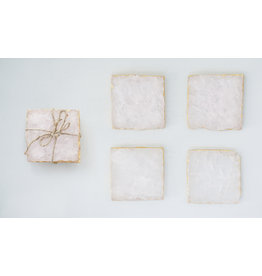 Pink Agate Coasters with Foil Trim (Set of 4)