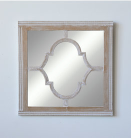 Whitewashed Wood & Glass Wall Mirror