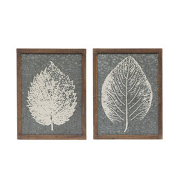 White Leaf on Galvanized Metal(Set of 2 Styles)