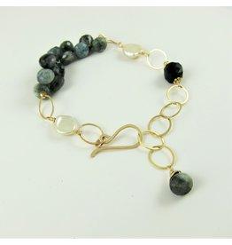14kg Moss-Aquamarine Gemstone Cluster Bracelet