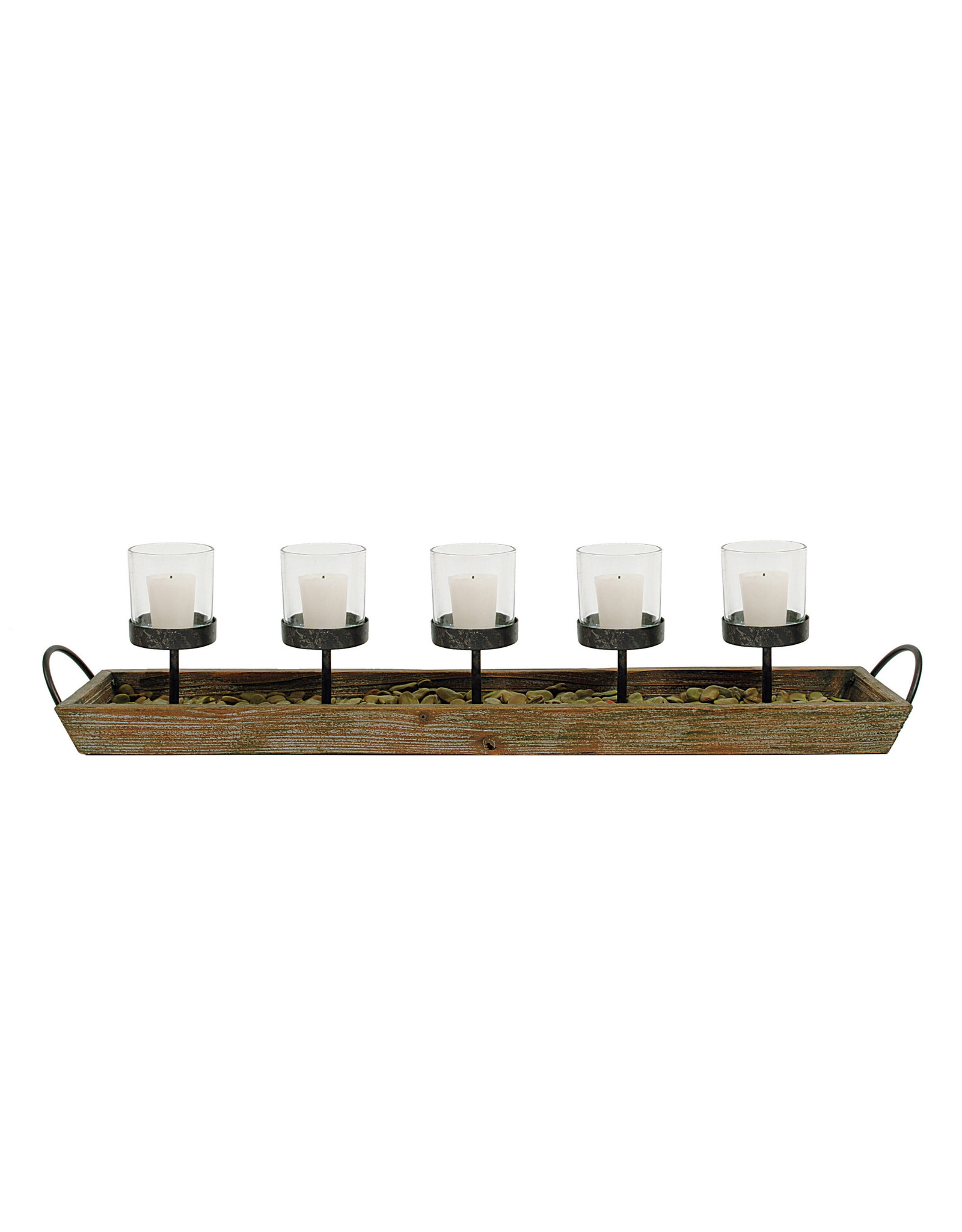 Candleholders in Wood Tray with Handles