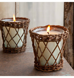(W) Burlap & Barnwood Willow Candle
