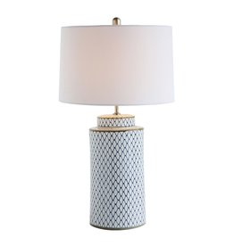 (W) Blue and White Ceramic Table Lamp