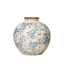 (W) Terracotta Vase with Floral Transferware Pattern