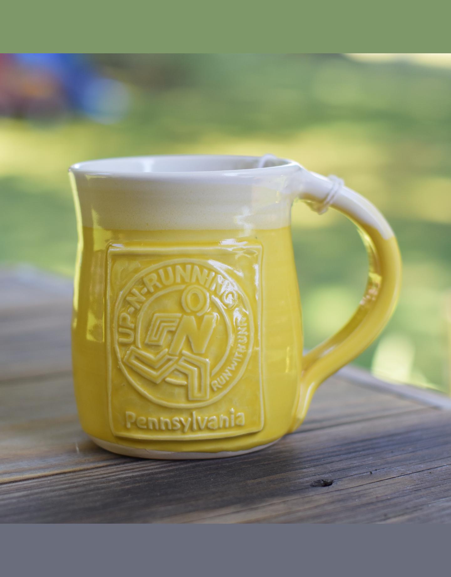 Up-N-Running Logo Handmade Coffee Mug