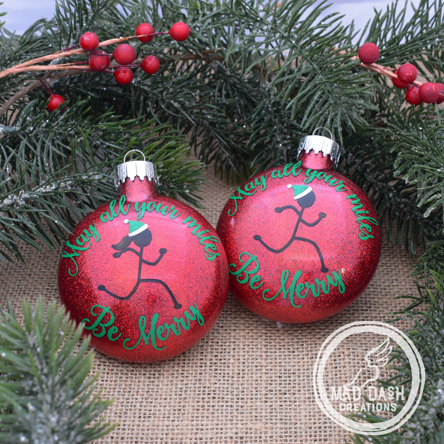 Mad Dash Creations May all your miles Be Merry Ornament