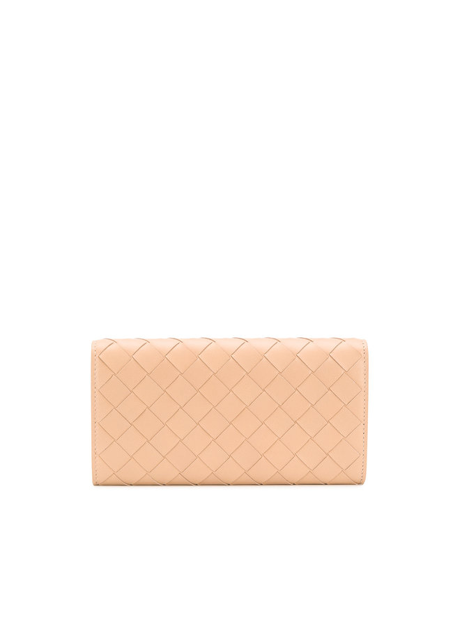 Continental Wallet in Intrecciato Leather Beige