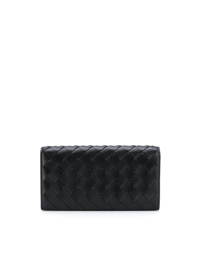 Continental Wallet in Intrecciato Leather Black