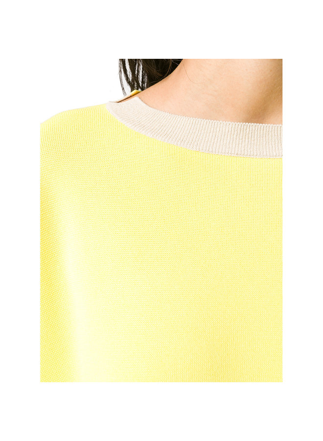 Knitted Bicolor Sweater in Oat/Lemon