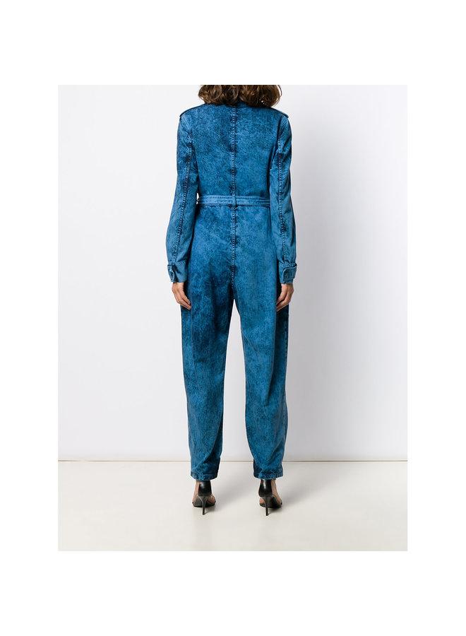 Jumpsuit with Belt in Cobalt Galaxy Wash