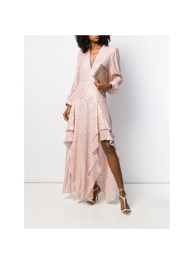 Asymmetric Long Dress in Metallic Print in Pink