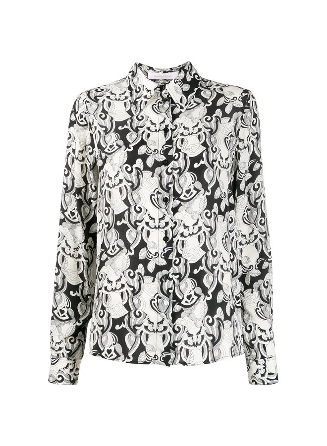 Long Sleeve Printed Shirt in Black/White