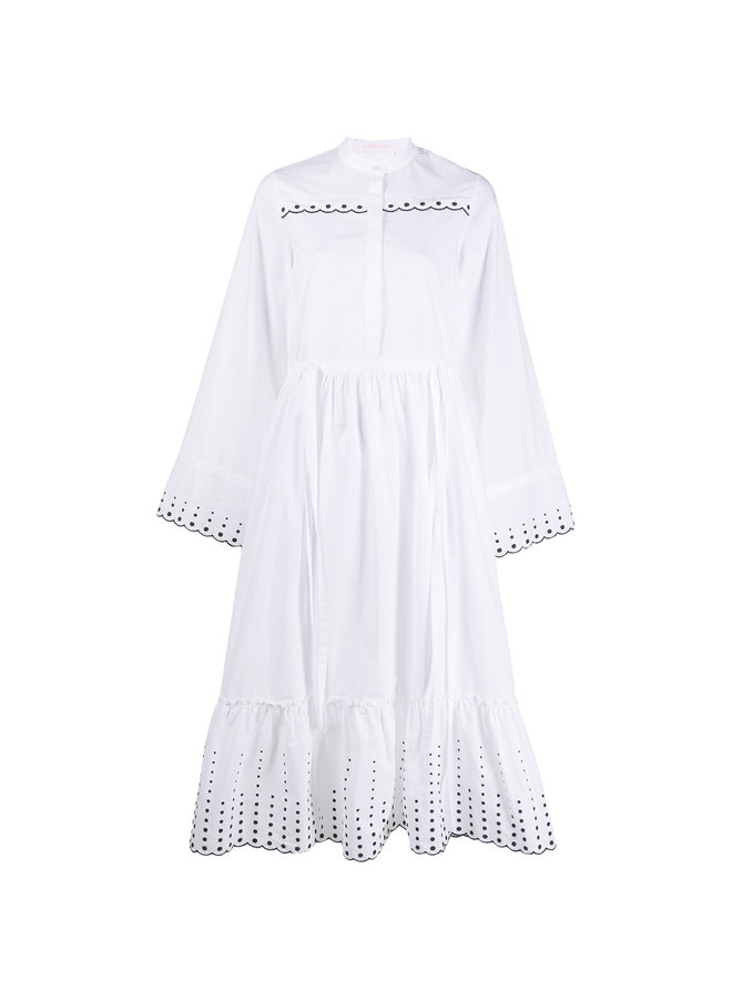 Midi Dress with Embroidery in White