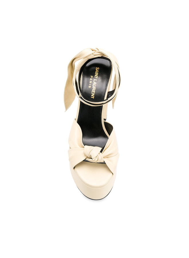 High Heel Platform Sandals in Light Cream