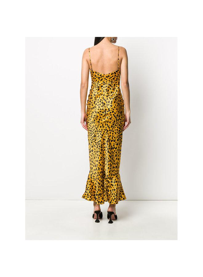 Long Mimi Printed Dress in Gold/ Black Leopard