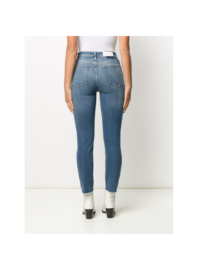 High Rise Ankle Crop Jeans in Aged Blue