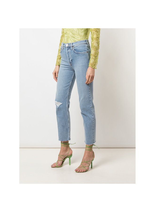 High Rise Stove Pipe Jeans in Cloudy Blue