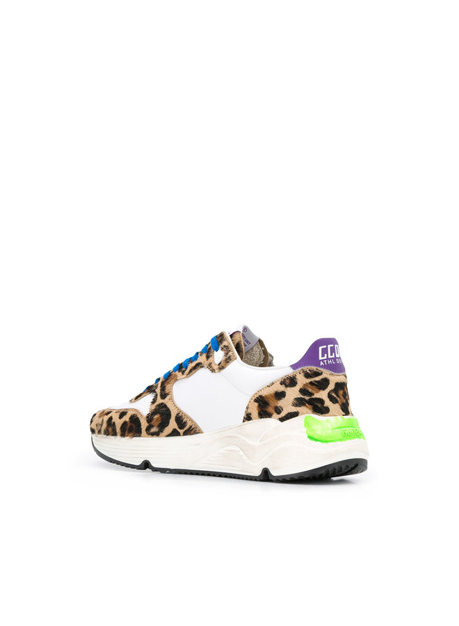 Running Sole Sneakers in White/Leopard