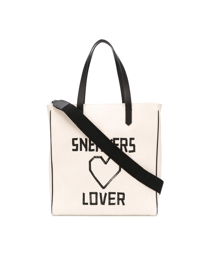 Square Sneakers Lover Tote in Natural Canvas