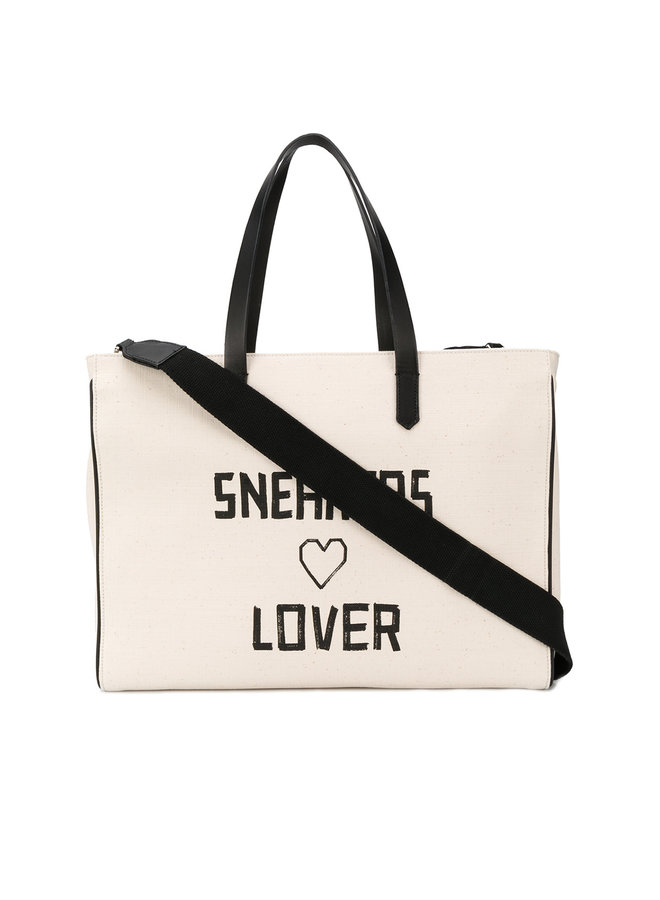 Rectangular Sneakers Lover Tote in Natural Canvas