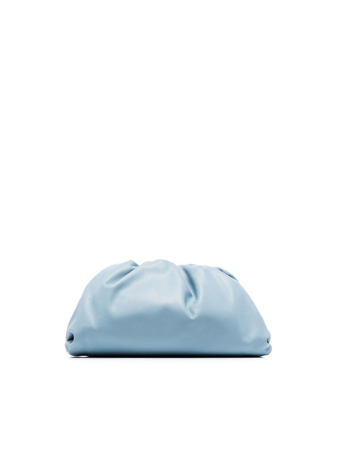 The Pouch Large Clutch Bag in Leather in Light Blue