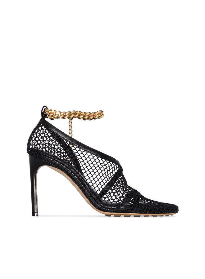 High Heel Net Pump with Chain Strap in Black
