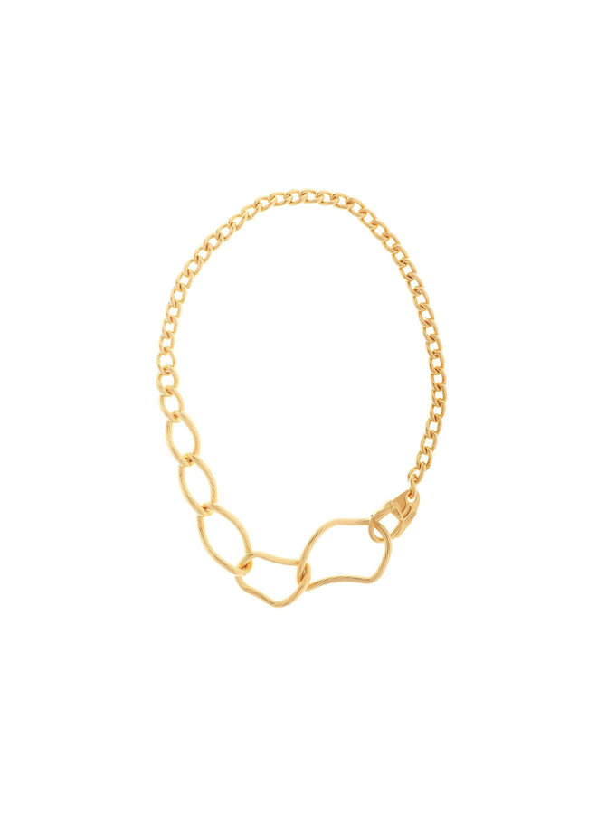 Off Center Link Chain Necklace in Gold