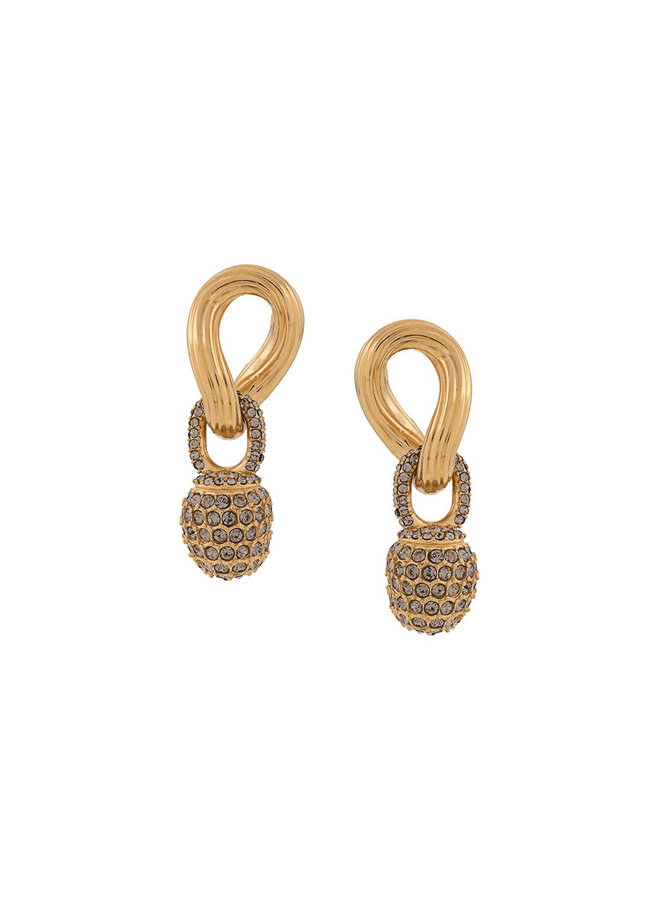 Single Link Earrings in Gold Plated/Crystal