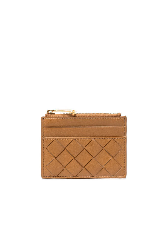 Zip Card Holder in Intrecciato Leather in Caramel