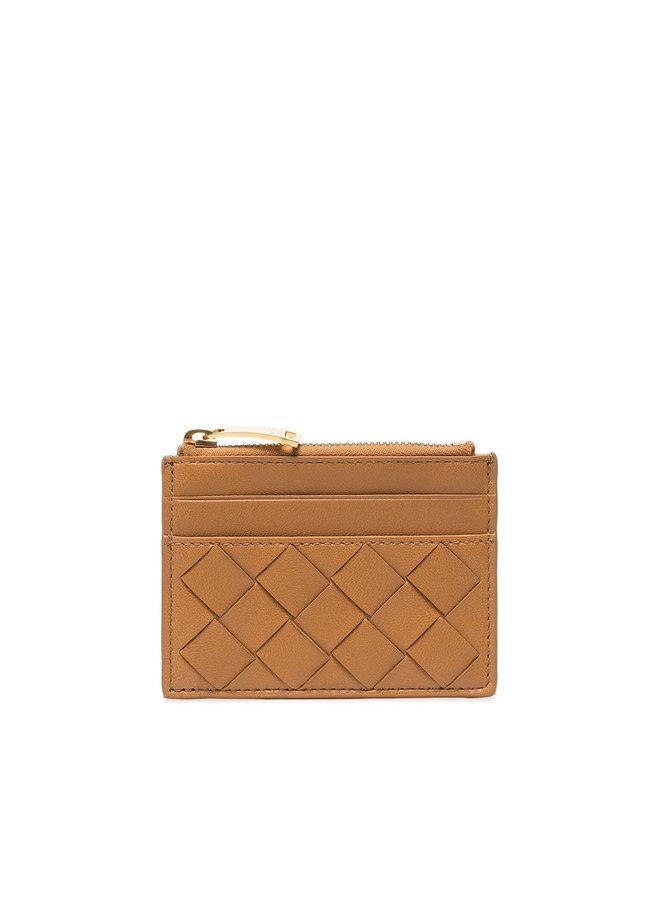 Zip Card Holder in Intrecciato Leather