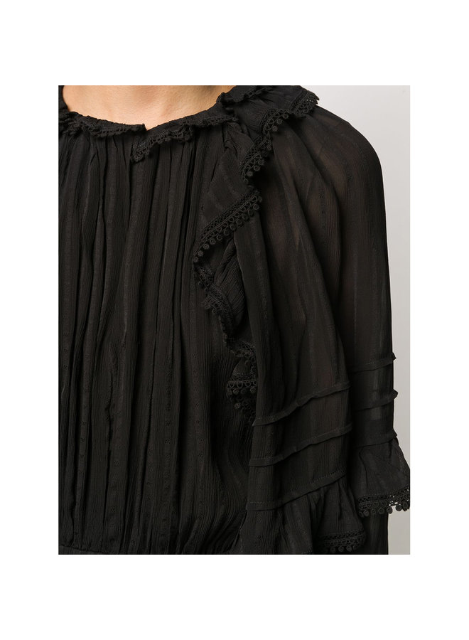 Long Dress with Vintage Ruffles in Black